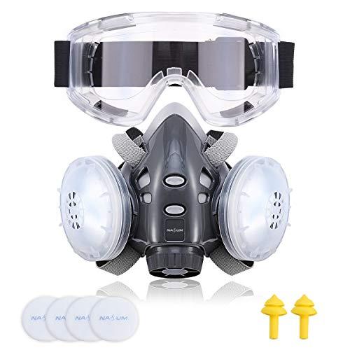 NASUM Halb Gesicht Abdeckung Wiederverwendbare, Serie Grau 308, mit Schutzbrille, Ohrstöpsel *1 Paar, Baumwolle*4(Mitte)