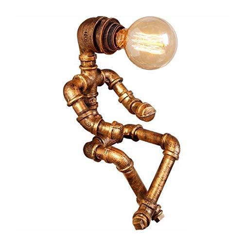 Huachaoxiang Roboter Steampunk Vintage Tischlampe, Retro Industrie Eisen Shisha Tischleuchte Für Nachttisch (Ohne Glühbirne),Bronze