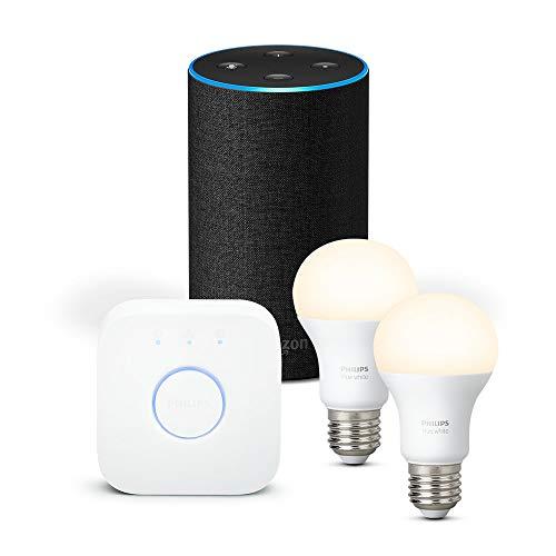 Amazon Echo (2ème génération), Tissu anthracite + Kit de démarrage Philips Hue...