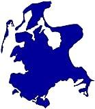 Rügen Aufkleber Insel in 9 Größen und 25 Farben (12x15cm brillantblau)