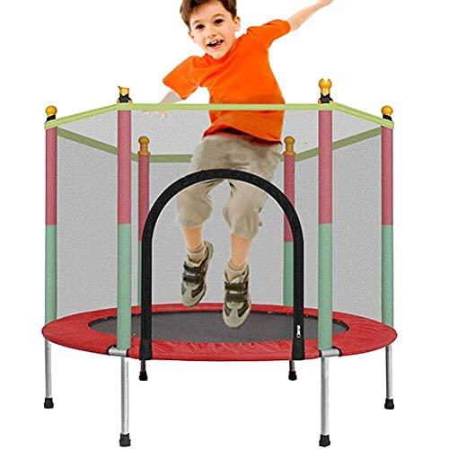 WXDP Autopropulsado Trampolín para Deportes de Interior para niños, trampolín para niños de jardín al Aire Libre con Red de Seguridad y Flecos Juguetes para niños Cama pa
