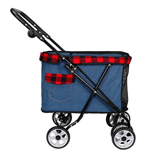 Huisdier kinderwagen opvouwbaar voor kleine middelgrote honden en katten, 4 wielen reizen vervoerders transporter jogger huisdier buggy huisdier benodigdheden, hond karren kunnen dragen 25kg (zwart donkerblauw lichtblauw), Blauw