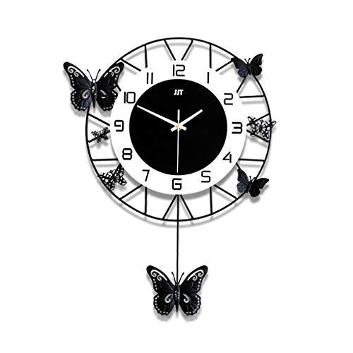 MANLADA-1 Wohnzimmer Wanduhr, Metall Zeiger Dreidimensionales Schmetterling Dekorative Wanduhr Gift Shop Wanduhr Florist Wanduhr (Color : Black, Size : 35 * 51cm)