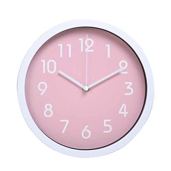 """Hemara 10"""" Modern Silent Wall Clock - Pink"""