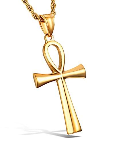 HZMAN Men's Gold Stainless Steel Coptic Ankh Cross...