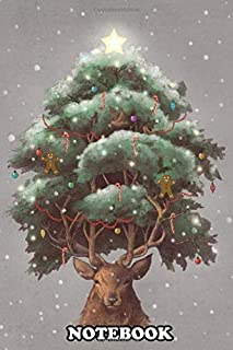 Notebook: Reindeer Tree , Journal for Writing, College Ruled Size 6