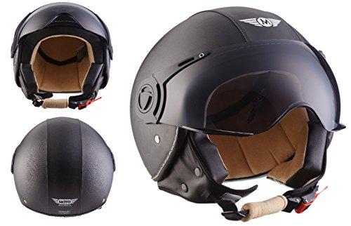 Moto Helmets H44 - Helmet Casco de Moto , Negro Cuero, XL (61-62cm)