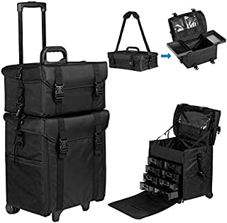 Happybuy 2 in 1 Nylon Makeup Case Soft with Wheels Travel Cosmetic Cases Detachable Professional Rolling Trolley Makeup Travel Case Oxford Vanity Portable Makeup Artist Organizer Box (2in1 Case)