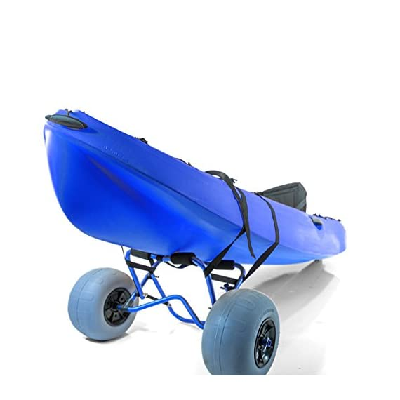 """Challenger outdoors kayak cart carrier dolly with large balloon tires heavy duty blue frame, pump and strap 9 detachable large low pressure 12"""" balloon tires what is included: manual heavy duty air pump & 12-ft cam buckle tie down strap carry your kayak, canoe and more, from your vehicle across the sand, loose gravel and mud"""