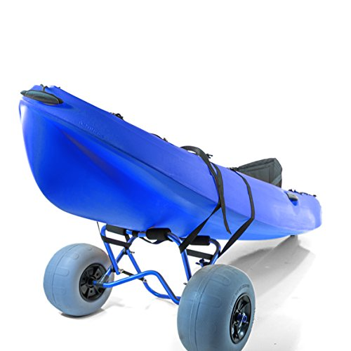 Challenger Mobility Kayak Carrier CART with Large Balloon Tires Heavy Duty Blue + Pump & Strap