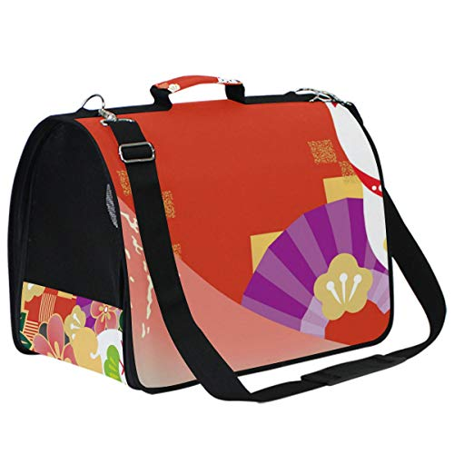 AMONKA Red Japanese Cat Mount Fuji Pet Carriers for Small Medium Cats Dogs Plegable Puppy Travel Carrier Bag with Replacement Comfy Mat