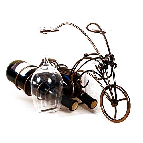 RVTYR Metallweinflaschenhalter, freistehend Wein-Halter, Motorrad Metall Flaschenhalter, 16.1 * 8.3 * 11 Zoll weinregal Metall