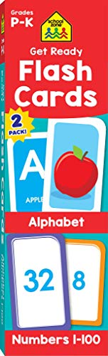 School Zone - Get Ready Flash Cards Alphabet & Numbers 2 Pack - Ages 4 to 6, Preschool to Kindergarten, ABCs, Uppercase and Lowercase Letters, Numbers 1-100, Counting, and More