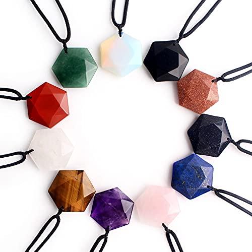 WANGJBH Piedras y Cristales 1pc Natural Obsidian Hexagon Colgante Pendiente Amatista Tallado Suéter Collares Curación Piedra para Mujeres Hombres Amuletos Cúbicos (Color : Amethyst)