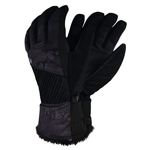 Dare 2b Gants de Ski Femme Daring Ultra imperméables, Respirants et isolants avec Doublure Chaude et Poignets Ajustables bordés de Fausse Fourrure Gloves, Black, FR : S (Taille Fabricant : S)