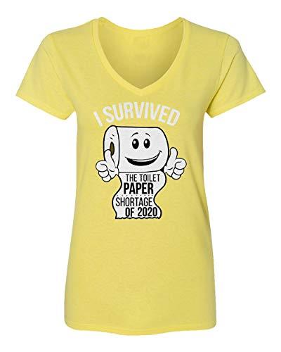 Sheki Apparel Coronavirus 2020 Toilet Paper Shortage Covid 19 Humor Womens Vneck T-Shirt (Yellow, X-Large)