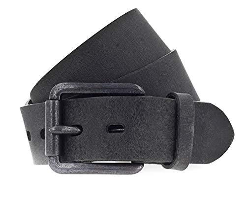 Vanzetti Gürtel, Unisex Ledergürtel, gewachst, 40 mm breit, schwarz, 95 cm