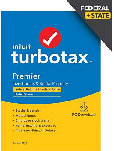 TurboTax Premier 2020 Desktop Tax Software Federal and State Returns Federal E file Amazon Exclusive product image