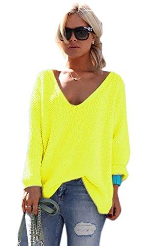 Mikos*Damen Frauen Strickpullover Pullover Pulli Strick Oberteile Oversized Sommer Herbst Frühling One Size (617 Neon Gelb)