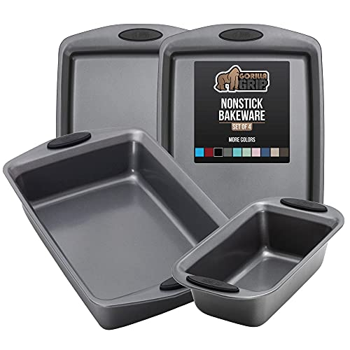 Gorilla Grip Bakeware Sets, Nonstick, Heavy Duty Carbon Steel, 4 Piece Kitchen Baking Set with Silicone Handles, 2 Large Size Cookie Sheets, 1 Medium Sized Oven Roaster Pan and 1 Loaf Pan, Black
