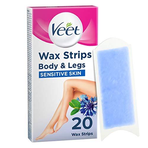 Veet Wachsstreifen für empfindliche Haut, leicht zu greifen, 20 Stück, VEET03