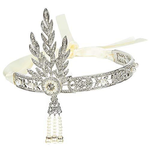 BESTZY 1920s Diadema Vintage, Diadema de Pedrería de Cristal para Novia Temática Fiesta Hairbands Accesorios para el Cabello para Mujer