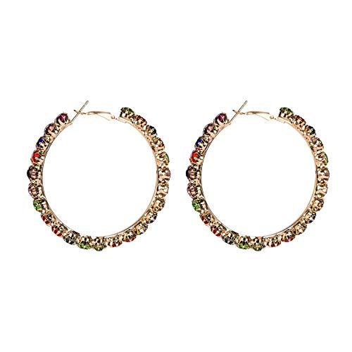 Europese en Amerikaanse mode-persoonlijkheid grote cirkel kleur diamanten oorbellen vrouwelijke overdreven retro wilde oorbellen straat schieten