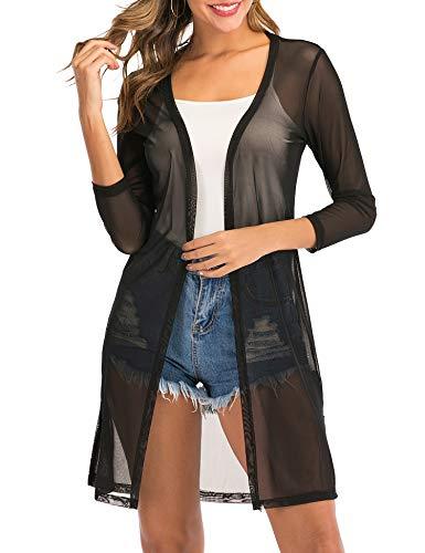 Enjoyoself Damen Lange Strickjacke 3/4 Arm Wasserfall Leicht Cardigan Dünne Netz Jacken,Schwarz,XL