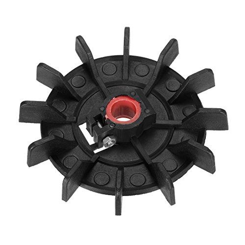 sourcing map 1Pcs Ventilador Del Motor 116 * 14mm Redondo Sustitución De Eje Impulsor De Plástico Negro De 12 Paletas