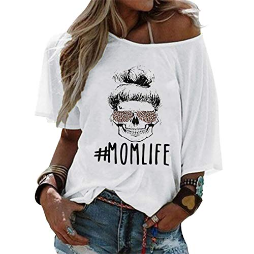Mom Life - Camiseta para mujer con diseño de calavera y leopardo, con hombros descubiertos Blanco L