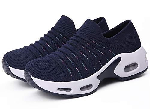 ZKPZYQ Zapatillas de deporte para mujer, zapatillas de deporte, con cojín de aire, antideslizantes, para exteriores, para correr en carretera (43, azul)