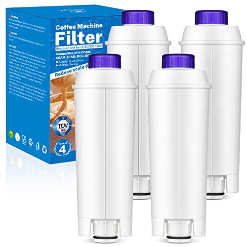 Onesight 4PCS Filtro DLSC002 Addolcitore per DLSC002 Filtro Acqua Cartucce a Carbone Attivo Addolcitore Adatto Filtro per Delonghi, ECAM, ESAM, ETAM, BCO, EC, EC680, EC800, EC820, BCO420, BCO410