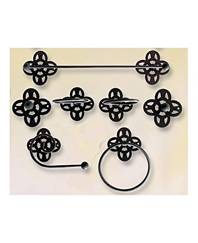 Hogares con Estilo - Juego de baño de Hierro Forjado artesanalmente en España formado por 7 Piezas. Modelo PÉTALOS Color Beige
