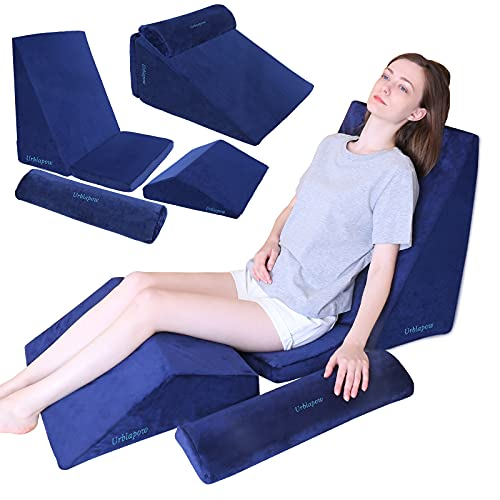 URBLAPOW UP-Ⅱ Wedge Pillow - Bed Wedge Pillow ,Back Support Wedge Pillow for Back and Legs Support ,Sleeping , Hypoallergenic Support Pillow for Acid Reflux/Allergies/Indigestion,Blue