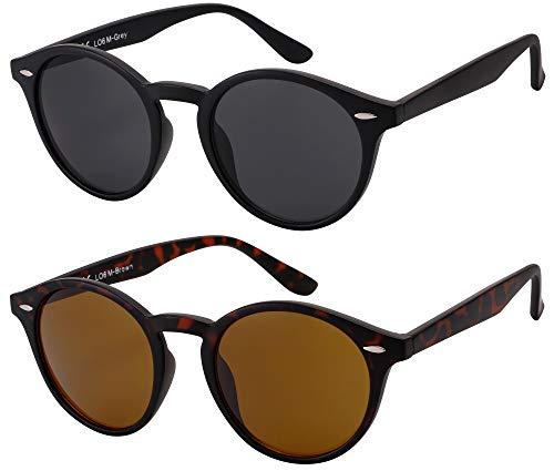 Sonnenbrille Herren Damen La Optica UV400 CAT 3 Retro Vintage Hippie Rund Round - Set Matt (1 x Grau, 1 x Braun)