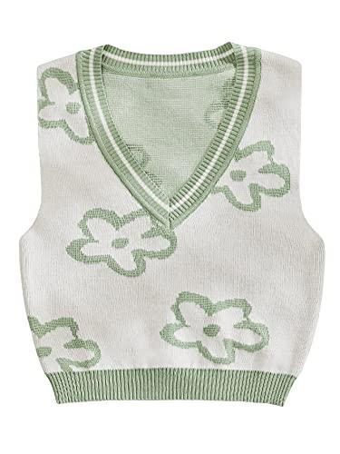 Romwe Women's Floral Crop Sweater Vest Preppy Style V Neck Tank Tops Knitwear Green S