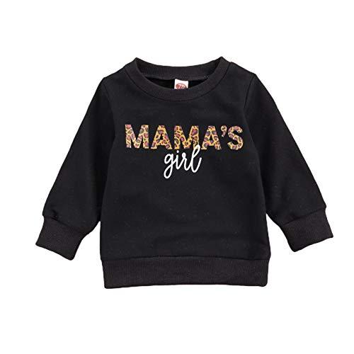 WangsCanis Kleinkind Baby Mädchen Jungen Mamas Mädchen Brief Gedruckt Langarm Sweatshirt Lässige Pullover Bluse Tops 0-6 Jahre Kleidung (Mama\'s Girl Schwarz, 2-3 Jahre)
