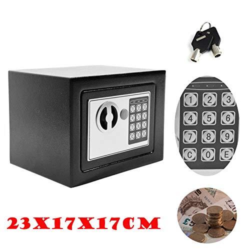 Kleiner Safe Tresor 4.6L mit digitaler Tastatur 2 Tasten 170x230x170MM Schwarz Elektronischer Minisafe Wandtresor Minitresor Zahlenschloss Safe für zu Hause Stahlsafe