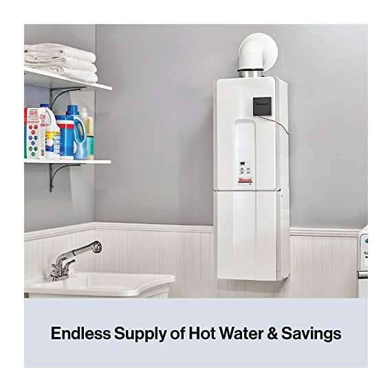 Rinnai Indoor Tankless Hot Water Heater, V65iP, Propane, 6.3 GPM, White 8 V65iP HE High Efficiency Tankless Hot Water Heater - Propane: Indoor Installation Only Up to 6.5 GPM hot water flow rate (varies by groundwater temp) Control-R 2.0 mobile app features timers and schedules throughout the day and allows you to remotely put the system into vacation mode.