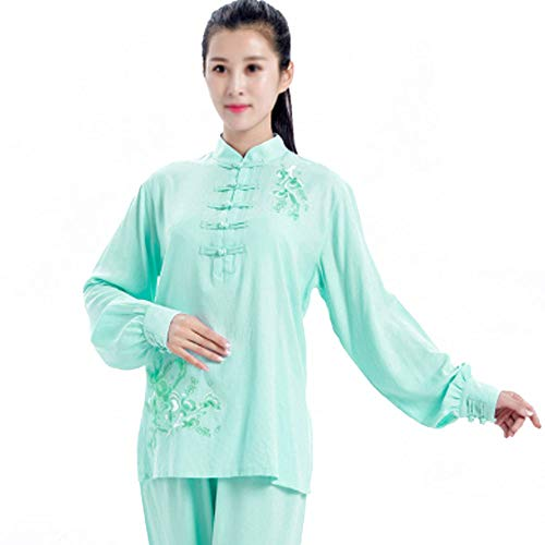 QIQI Yoga Tai Chi Uniform, Frau Traditionelles Kung Fu Kostüm Langarm Meditationstraining Stickerei,Mint Green,S