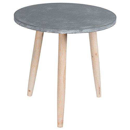 Homestyle, tavolino rotondo in legno solido, comodino, tavolino da corridoio, tavolino da caffè