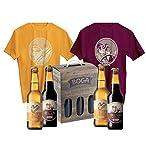 coffret bières duo boga, 2 bières lorea de 33cl, 2 bières beltza de 33cl, 1 t-shirt lorea, 1