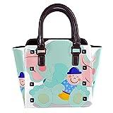 IUBBKI bolso de hombro con remaches de cuero de tiburón azul de dibujos animados para mujer y niña