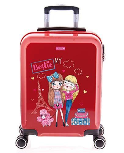 imome Cool Maleta de Cabina Infantil My Bestie 55x40x20 cm | Equipaje de Mano, Trolley de Viaje Ryanair, Easyjet | Maleta de Viaje Rígida Divertida Mi Mejor Amiga Juvenil