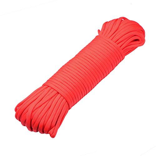 DonDon Corde Paracorde 30 Mètres Ruban de Tissu Lacet de Nylon Bracelet de Survie à Fabriquer et pour Activités de Camping en Extérieur 4 mm – 7 brins Rouge