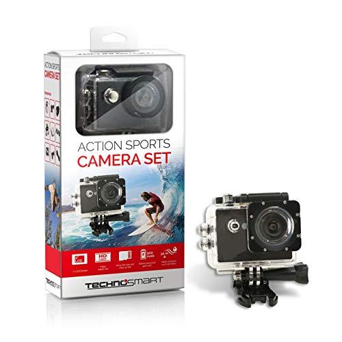 Technosmart Action Cam, Full HD 1080P, waterdichte actiecamera, onderwatercamera, sport, met 2 inch LCD-scherm, 900 mAh Li-ion accu met accessoireset
