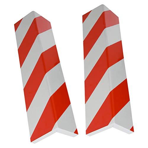 QLOUNI 2pcs Protector Columnas Garaje - Protección para Parachoques para Puertas de Coche, Parachoque, Protector Autoadhesivo con Franjas Rojas y Blancas (40x15x1.5cm)