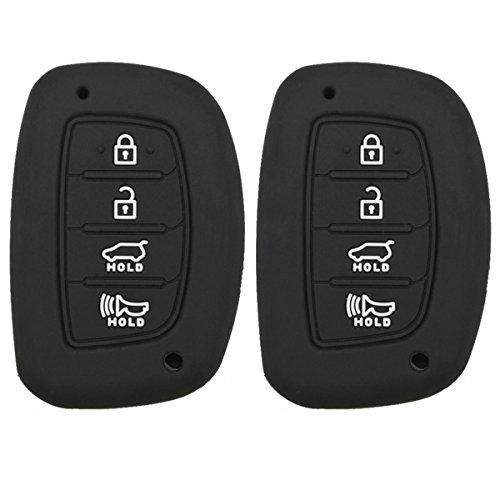 Coolbestda 2Pcs Rubber Key Fob Remote Cover Keyless Entry Jacket Holder for 2018 2017 2016 Hyundai Tucson Elantra Sonata 4Buttons (NOT FIT Flip/Pop Out/Folding Key