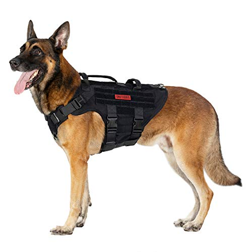 OneTigris Large Tactical Dog Harness, No Pulling Adjustable Dog Vest Harness, Heavy Duty Dog Harness with Handle, Large Hook and Loop Panels for Patch(Black,L)