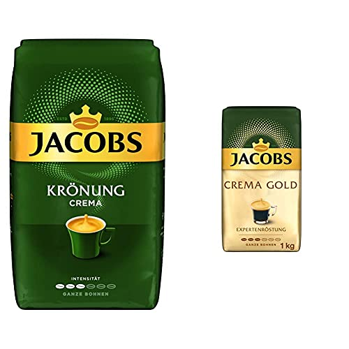 Jacobs Kaffeebohnen Krönung Crema, 1 kg Bohnenkaffee & Kaffeebohnen Expertenröstung Crema Gold, 1 kg Bohnenkaffee